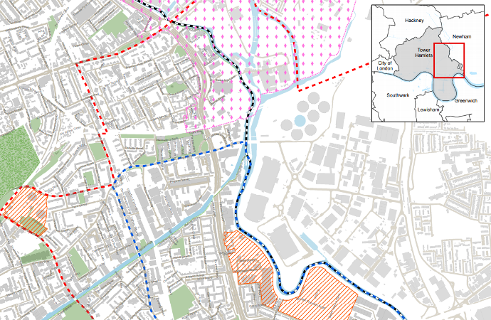 call for sites Tower Hamlets map for development
