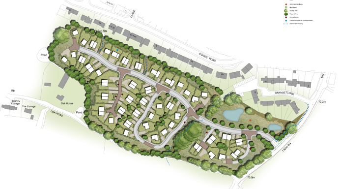 Outline plan for 70 home development