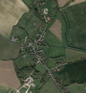 Rural village aerial view