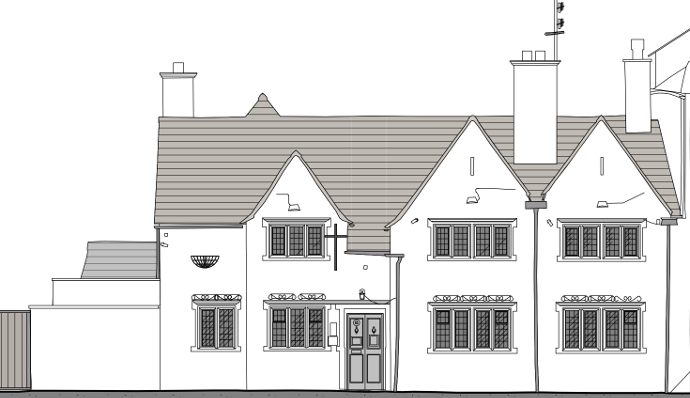 front view of pub conversion to residential flats