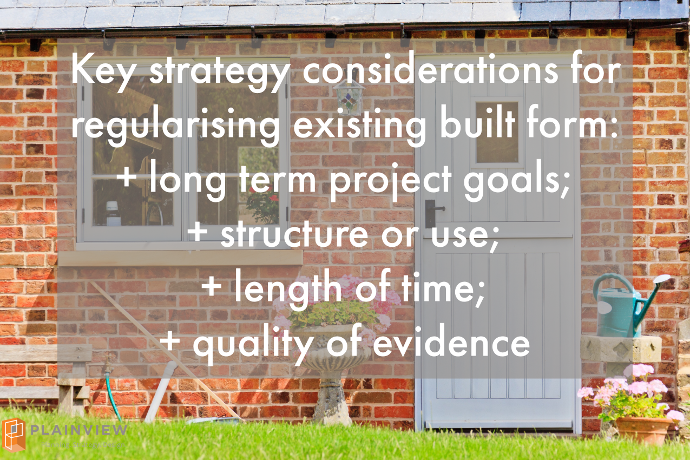 key strategy considerations for regularising existing built form