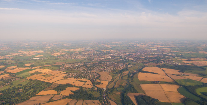 view of english towns and fields ref settlement boundary